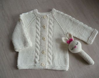 9dca14fcd125 Hand knitted cotton baby cardigan