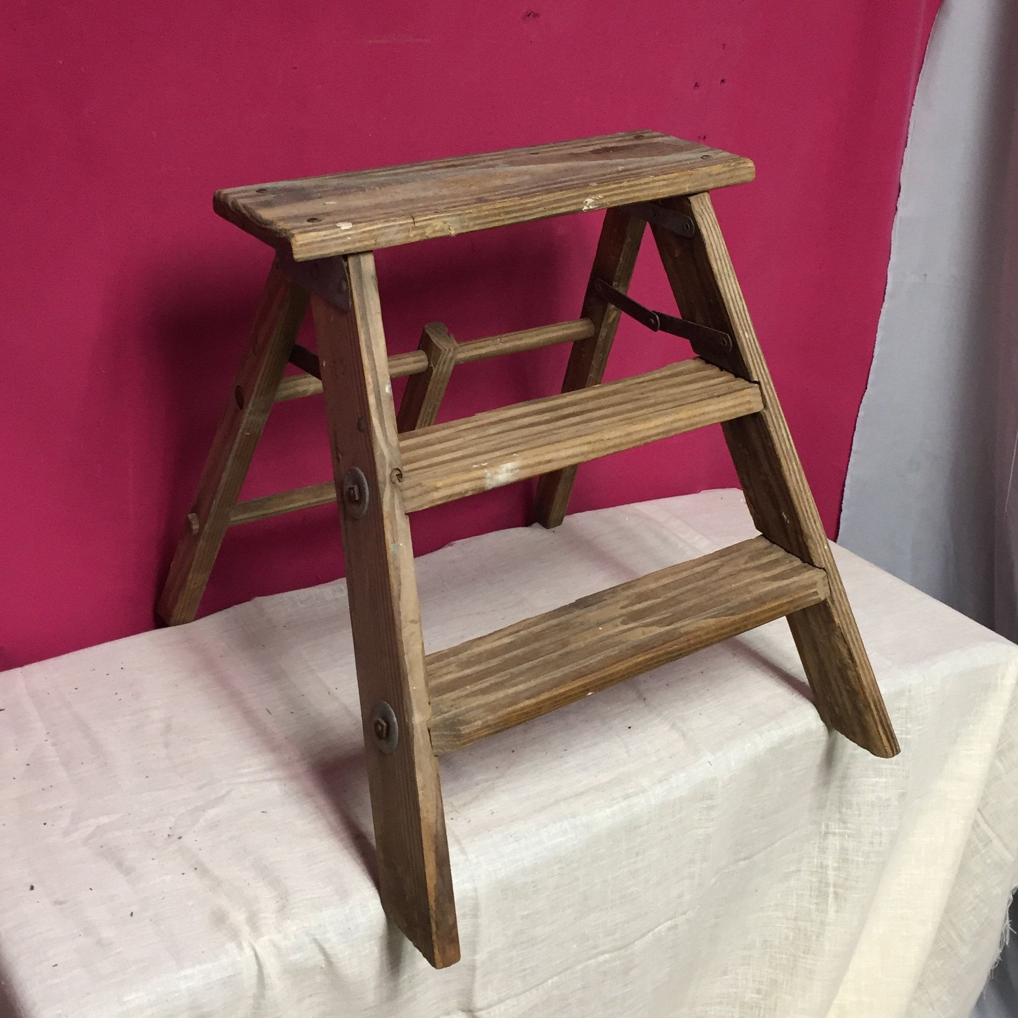 Small Old Wooden Step Ladder Stool 2 Step Folding Stool