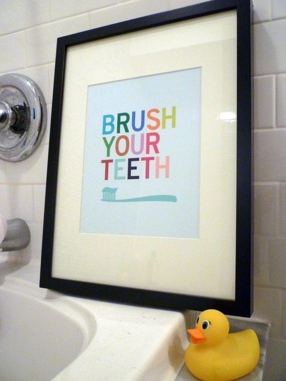kids - cute for the bathroom!  maybe a matching wash your hands, and put the toilet seat down one too!