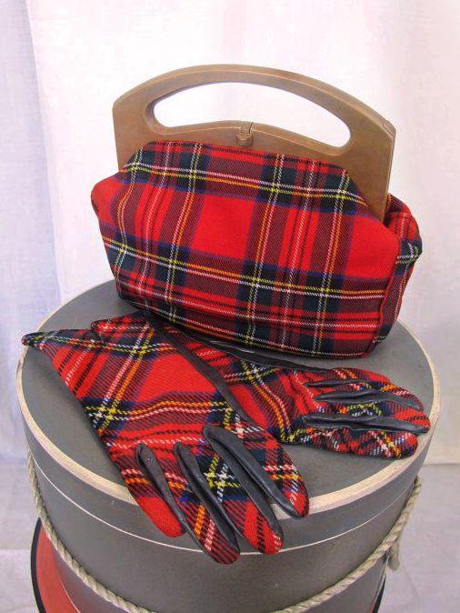 Vintage Red Stewart Tartan bag and gloves