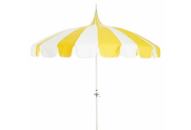 Wonderful Pagoda Patio Umbrella, Yellow/White