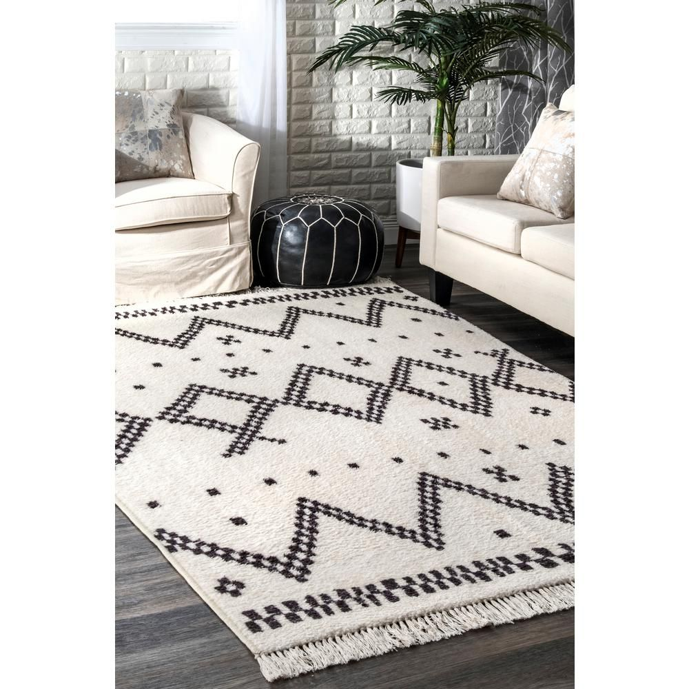 Nuloom Tracy Moroccan Tassel Off White 8 Ft X 10 Ft Area Rug Mcmj01a 8010 The Home Depot Rugs Usa Contemporary Rugs White Rug
