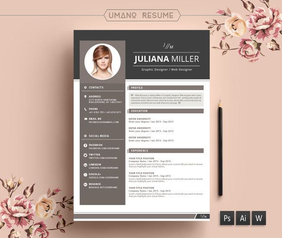 Modern Resume Template + Free Cover Letter for Word AI PSD - free creative word resume templates