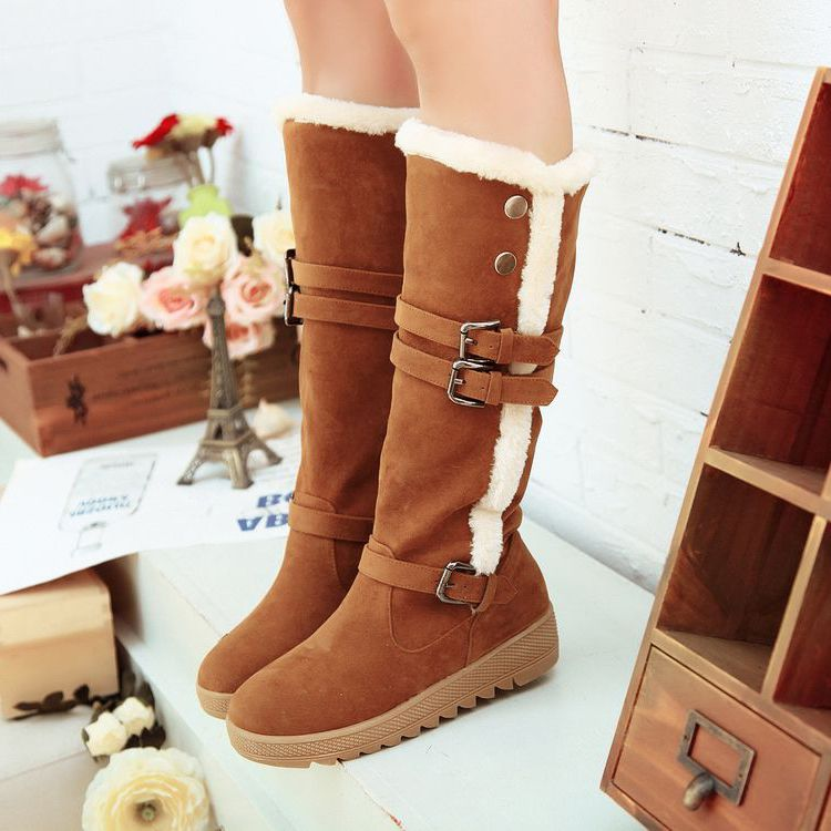 Winter Warm Womens Round Toe Fur Trim Chunky heel casual Snow ankle boots Shoes