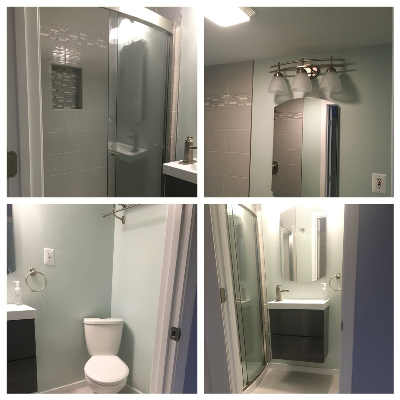 Cute Apartment Bathroom Love The Color: I Love The New Guest Bathroom! Paint Color Is Behr Serene Journey.