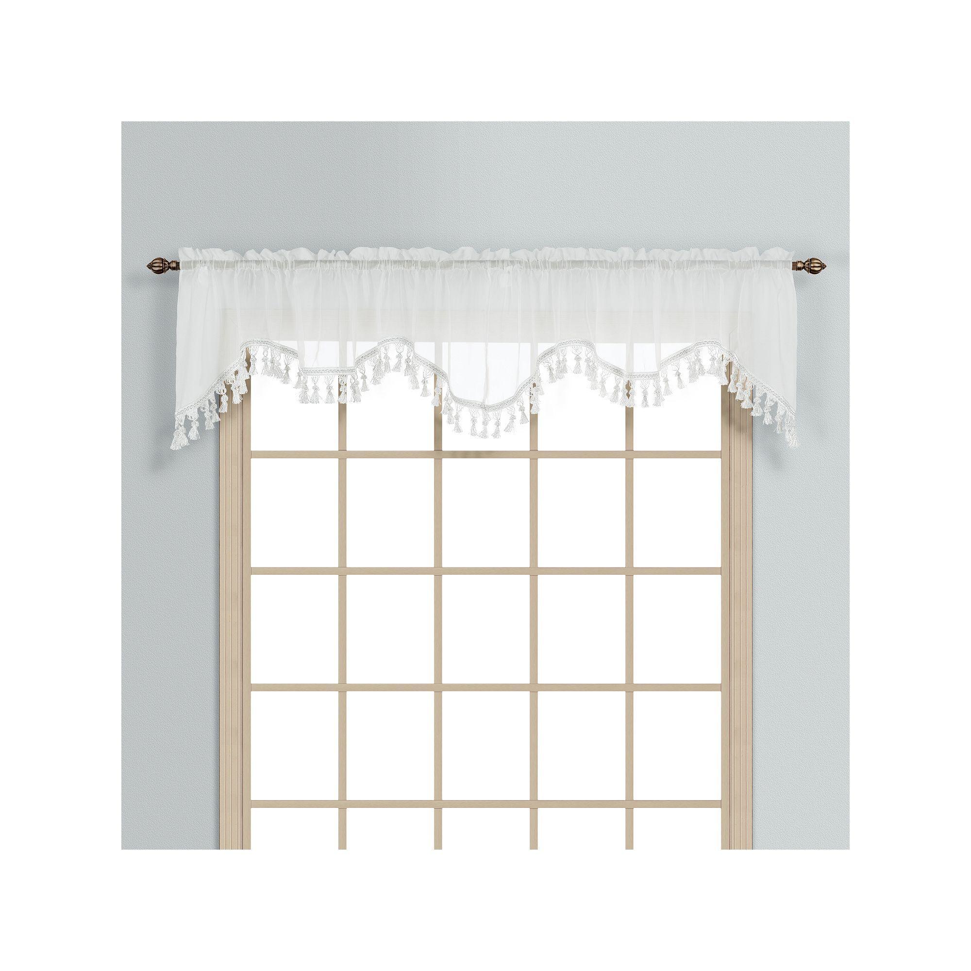 United Curtain Co. Monte Carlo Scalloped Valance - 59'' x 18'', White