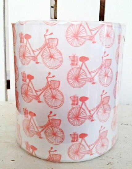 Own designed printed fabric using our bike design ..15cm lampshade by Picpacnaddywak