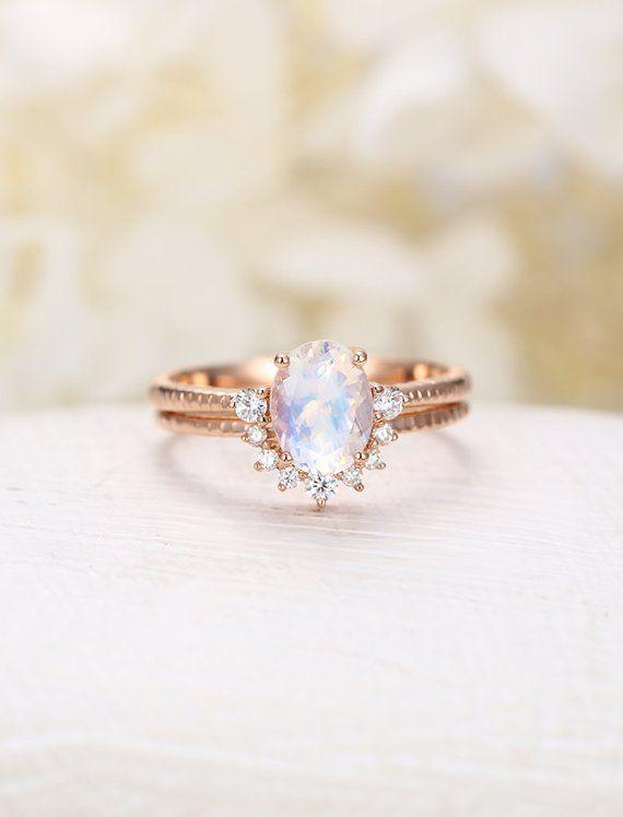Conjunto de anillo de compromiso de piedra lunar anillo de moissanite de oro rosa anillo de compromiso único promesa de novia de boda curvada vintage