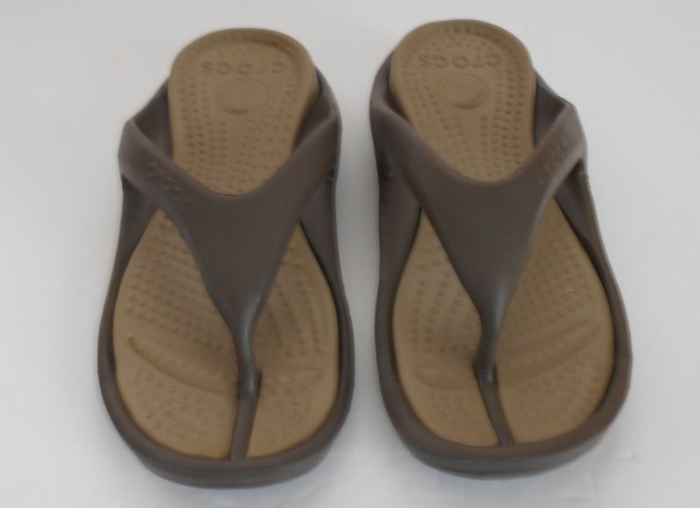 ffd95447be7b CROCS ATHENS Women Sz 9 - Men Sz 7 comfort brown   khaki tan thong sandals   Crocs  FlipFlopsThongsSandals  Casual