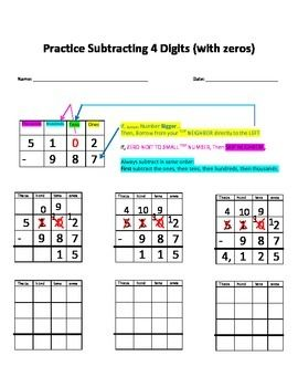 Place Value Worksheets Pdf Practice Worksheet With Visual Aid For Subtracting Four Digits  Graphing Numbers On A Number Line Worksheet Word with Conjunctions Worksheet Grade 5 Pdf Practice Worksheet With Visual Aid For Subtracting Four Digits The Ransom Of Red Chief Worksheets Excel