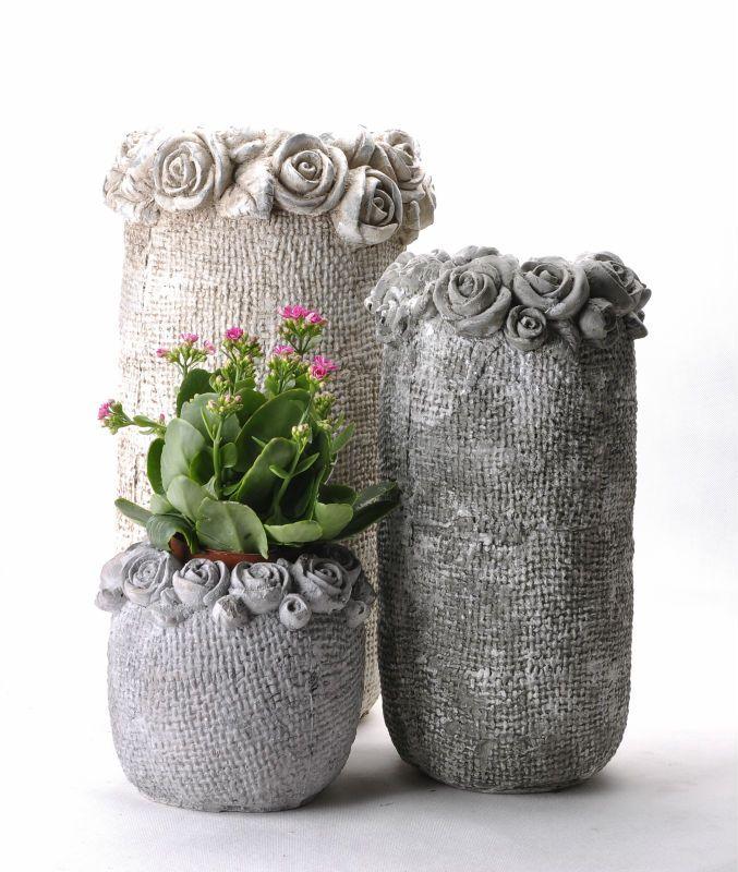 Cement flower pot jardin pinterest cemento macetas for Jardineras de ceramica