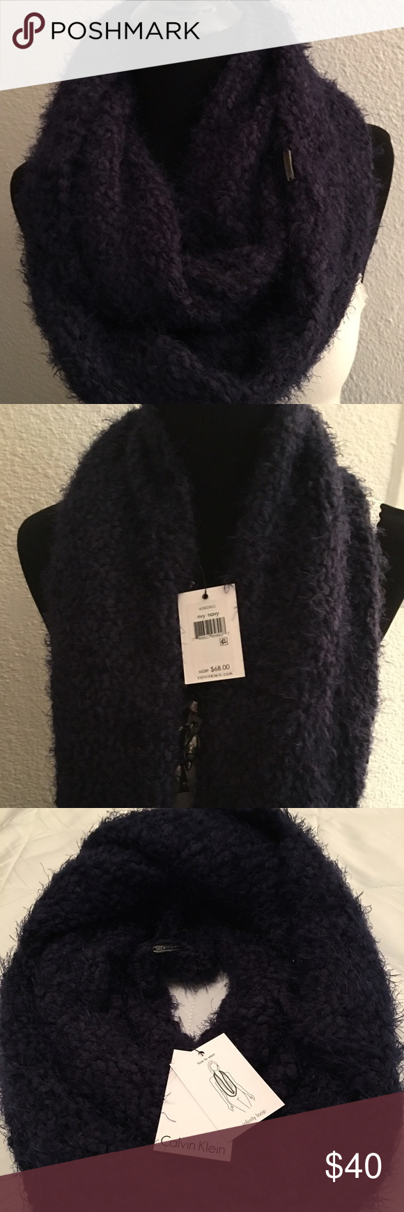 Calvin Klein Infinity Scarve Beautiful Calvin Klein Navy Blue Infinity Scarf. CAHHP3052, A5K12860 Nvy.  MSRP $68 Calvin Klein Accessories Scarves & Wraps