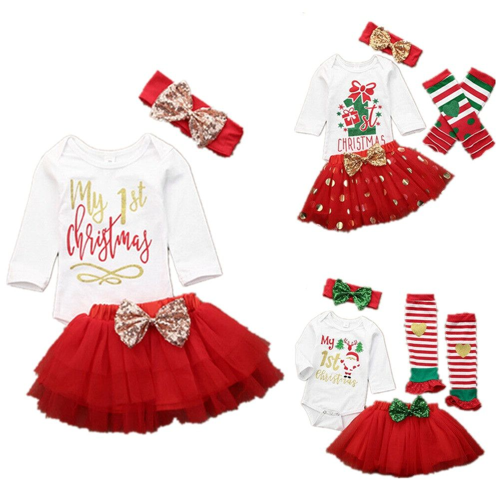 3PCS Christmas Newborn My First Baby Girl Romper Warmer Costume Outfits Set