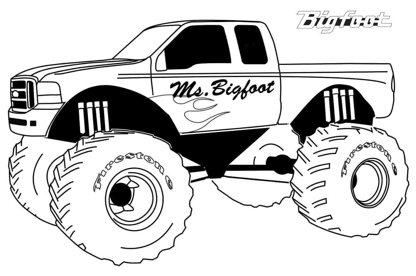 Free Printable Monster Jam Coloring Pages Bigfoot Truck