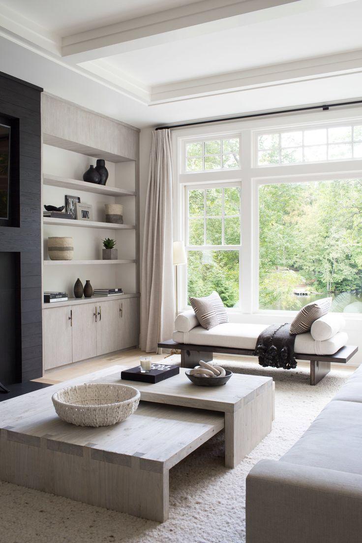 Photo of Wohnzimmer in neutralen Farben | Einbauregal | Interior Design