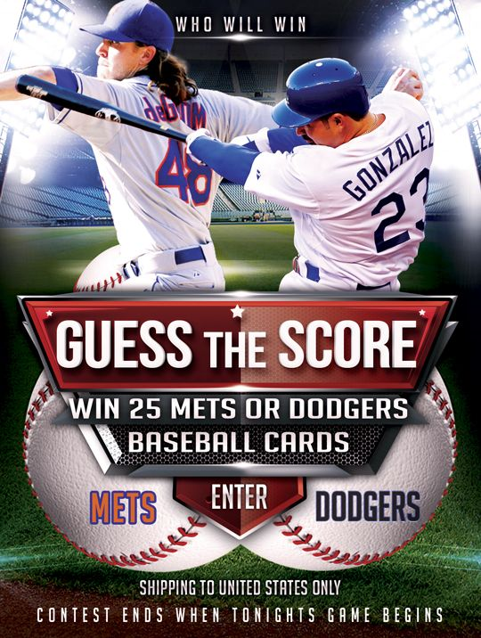 This Is A Very Exciting Night Especially For New Yorkers We Challenge You To Guess The Score Of Tonights Mets Vs Dodgers Game If Yo Dodgers Mets Dodger Game