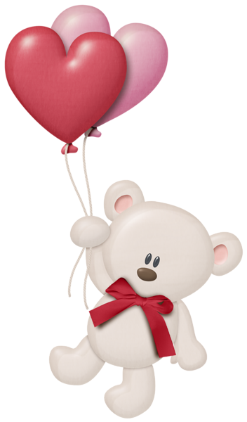 White Teddy With Heart Balloons Png Clipart Balao Desenho Selos Digitais Desenho De Urso