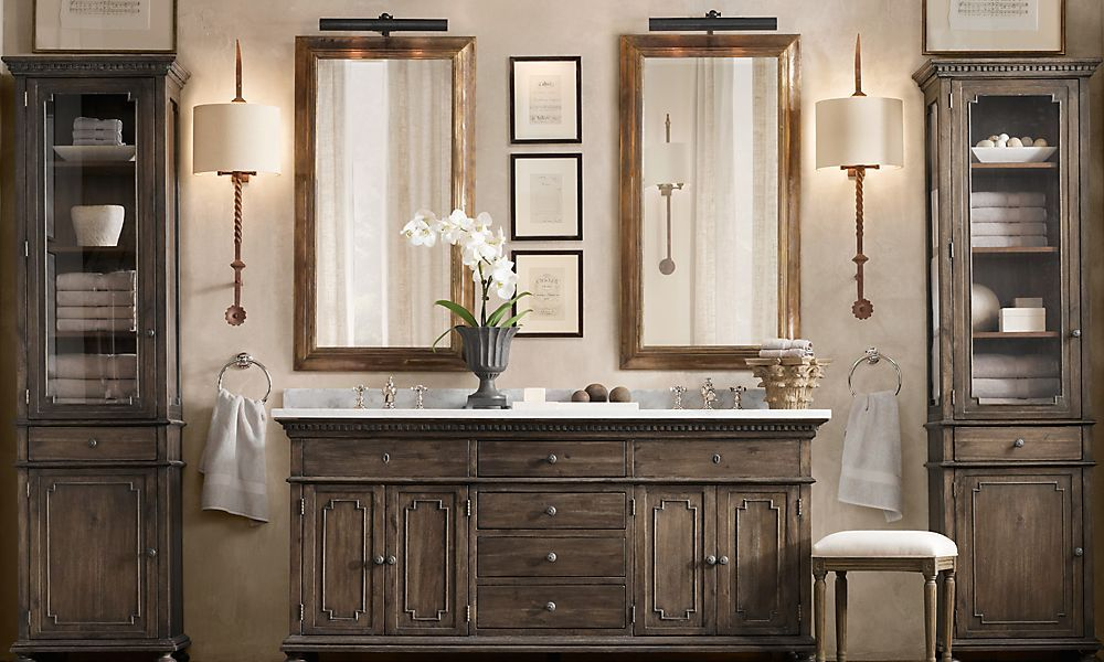 For baths, what about using chrome on counters and bronze for lighting? Faucets do not stick out against the white/grey marble   Restoration Hardware