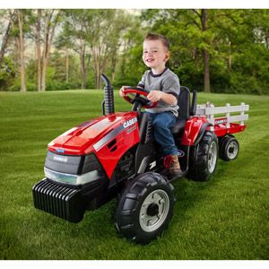Peg Perego Case Ih Magnum Tractor And Trailer 12 Volt Battery Powered Ride On Walmart Com Case Ih Ride Ons Kids Ride On