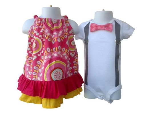 Pink and Yellow Dress and Bow Tie Shirt Set $59.00