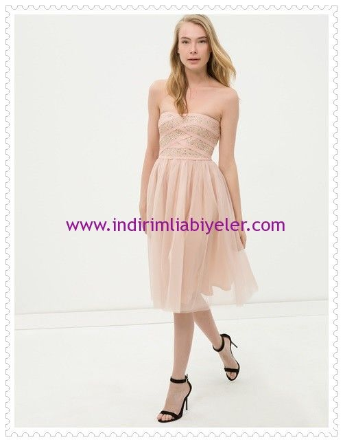 Koton pudra straplez abiye elbise