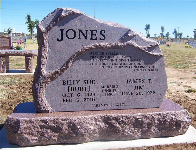 Jones - Billy Sue and Jim.  This hand carved red granite companion monument for Jim and billy Sue Jones.  This monument has a unique design as it has half of a hand carved tree on it.  The other half of the tree is on the monument for their daughter's family that sits next to this monument.  This monument won the 2013 MBNA award for best hand carved monument.  This monument was designed and created by Willis Granite Products.  www.willisgranite.com