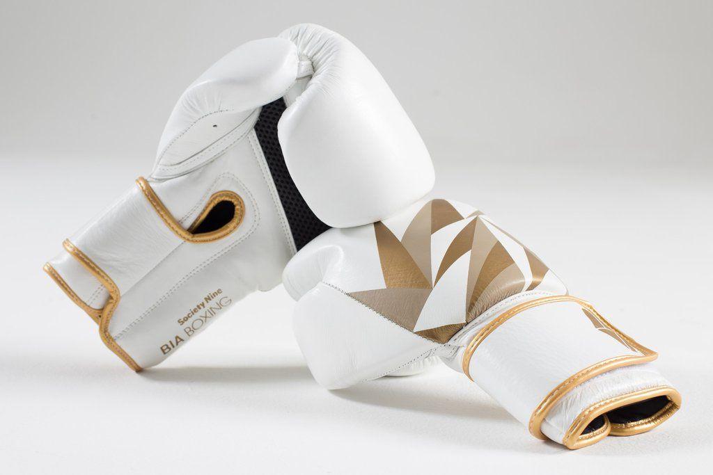 Society Nine Bia Boxing Glove in White/Gold