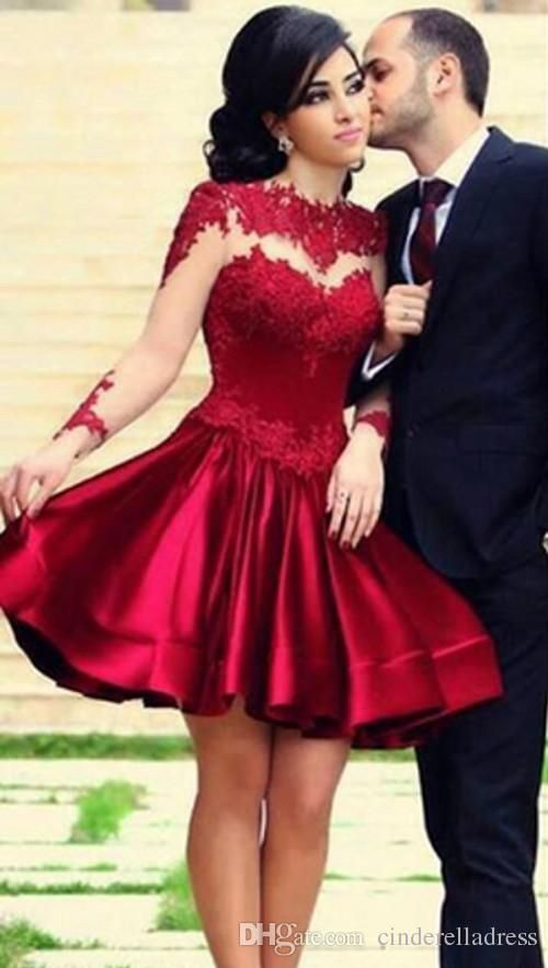 ed23cf952ee Wholesale 2015 Sexy Red Satin Short Mini Sheer High Neck Illusion Long  Sleeve Lace Bodice Ball Gown Graduation Party Gown 2014 Homecoming Dresses