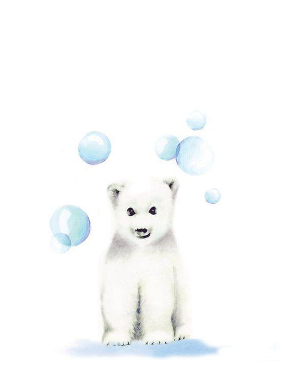 Ensemble de pépinière arctique, impression de pingouin, ours polaire, impressions bleues de pépinière, décor de garçon de bébé, pingouin, art d'enfants, décor de mur, bébé scandinave,