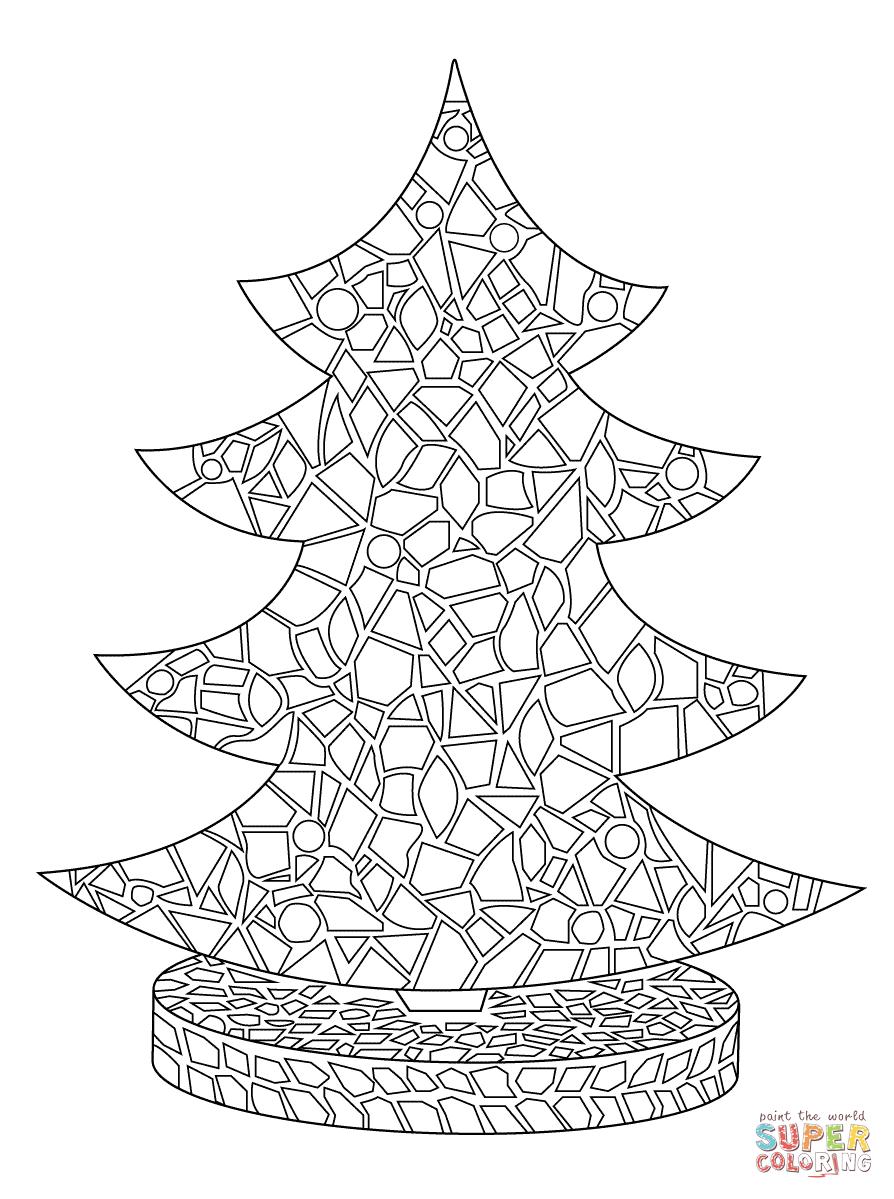Christmas Tree Mosaic Coloring Page Tree Mosaic Christmas Mosaics Free Coloring Pages