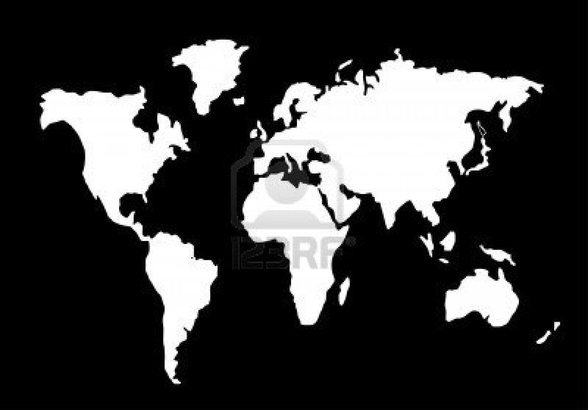 World Map Silhouette Black And White Craft Ideas Pinterest