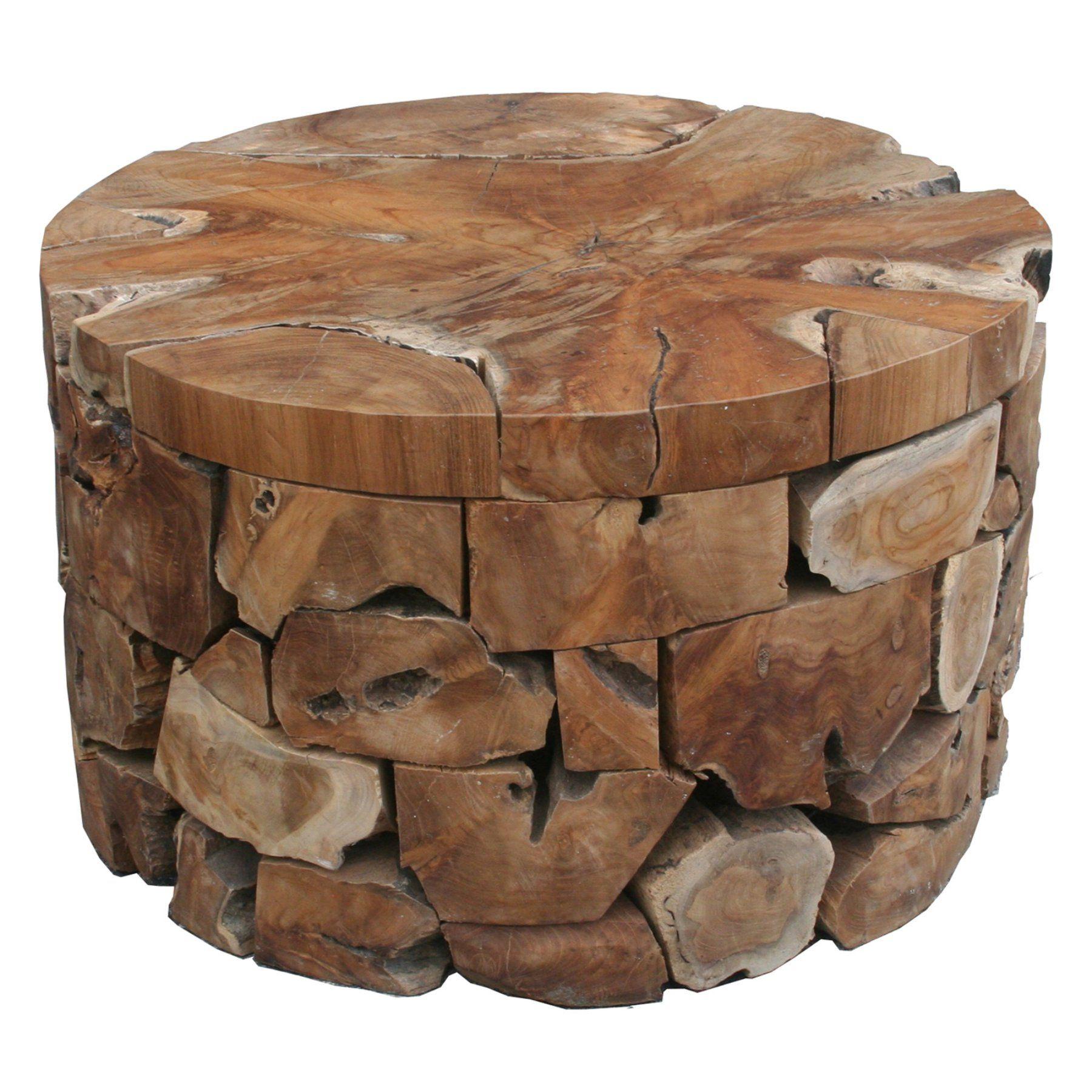 Chic Teak Teak Wood Round Akara Indoor Outdoor Coffee Table 28