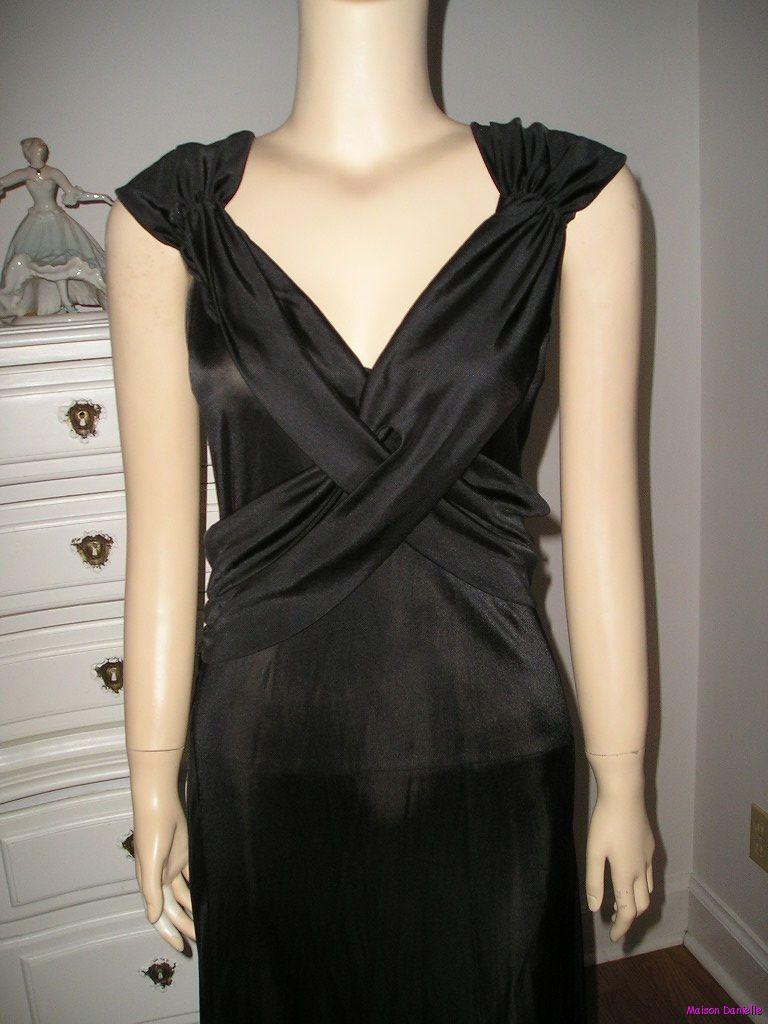 Vintage black old hollywood low back draped lbd little black dress