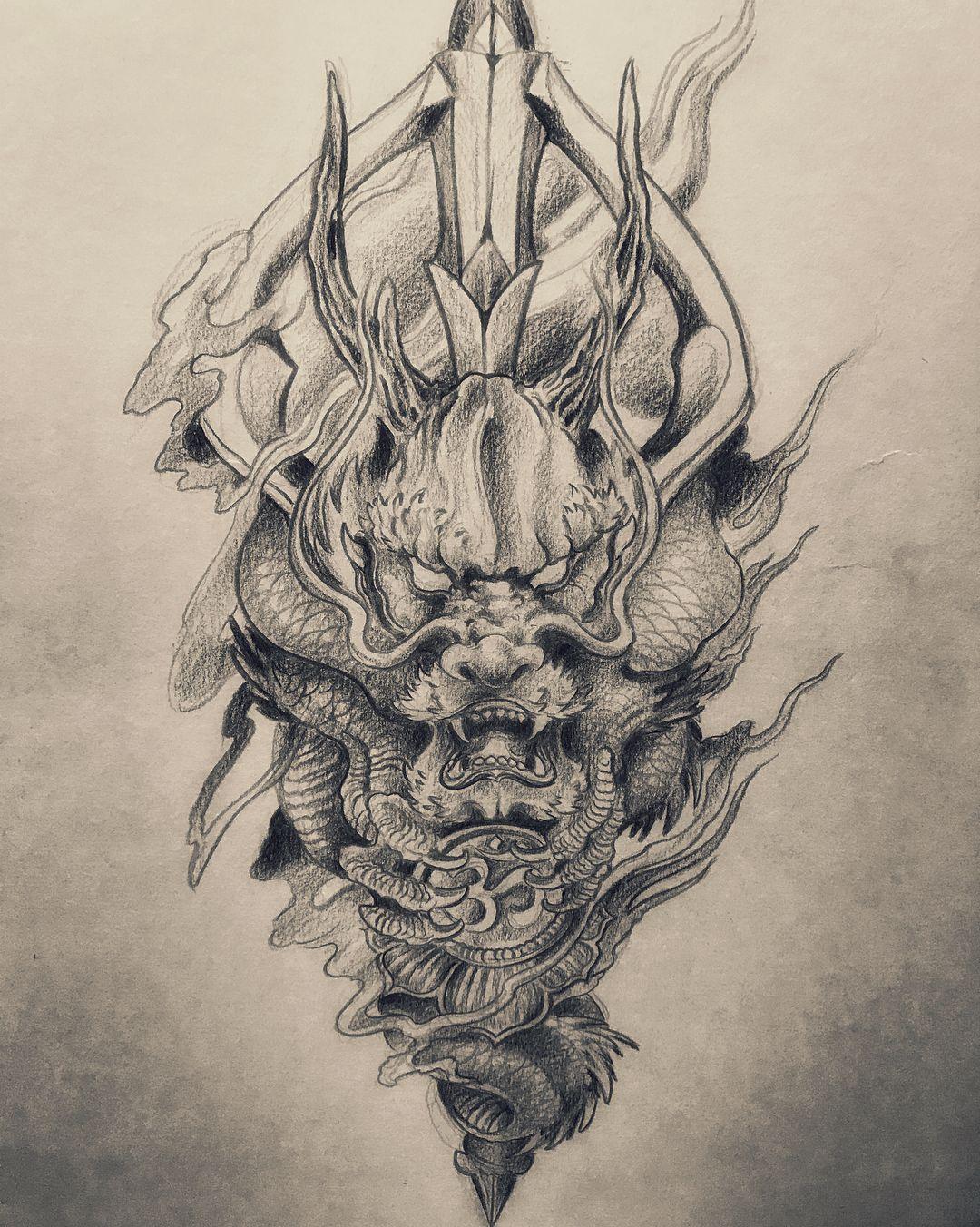 Black Or Red Sonneetattoo Dragontattoo Tattoodesign Japanesetattoo Easterntattoo Asiantattoo Dragon Head Tattoo Dragon Tattoo Drawing Japanese Tattoo