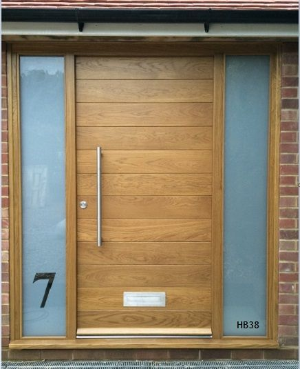 oak contemporary door and frame with glazed sandblast sidelights