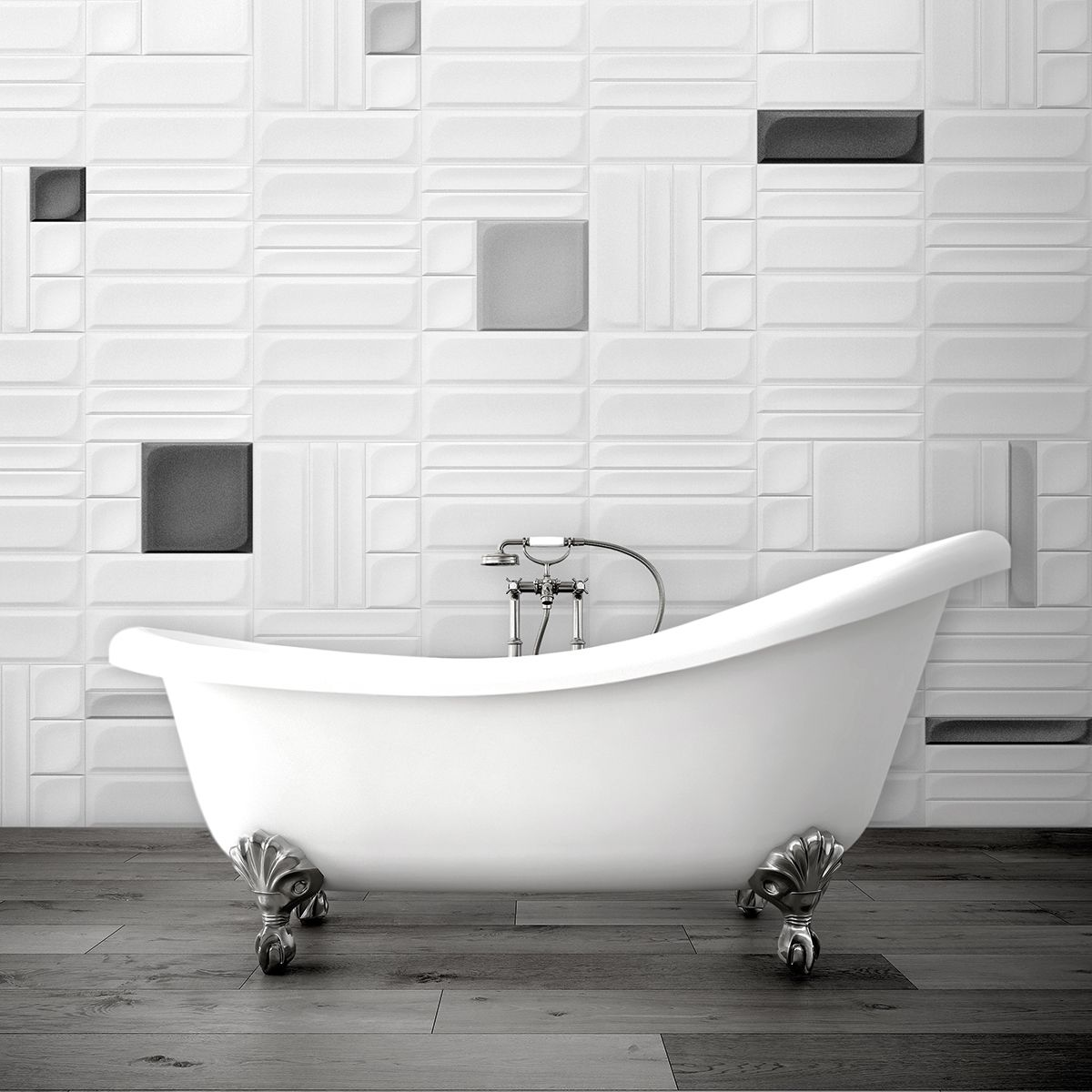 Funky bathroom wall tiles from Solus Ceramics\' Elegance range. Mix ...
