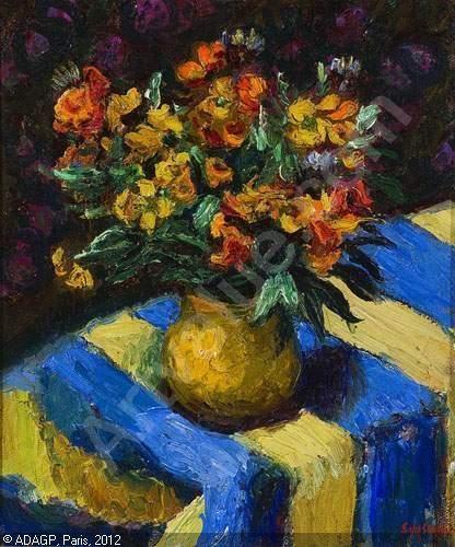 SEYSSAUD René - Bouquet de fleurs des champs sur une nappe