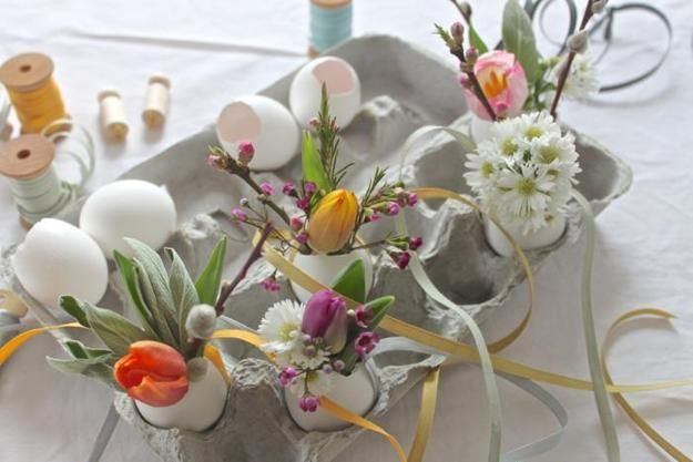 Recycling Egg Shells For Miniature Vases, Green Easter Decorating With  Spring Flowers And Plants