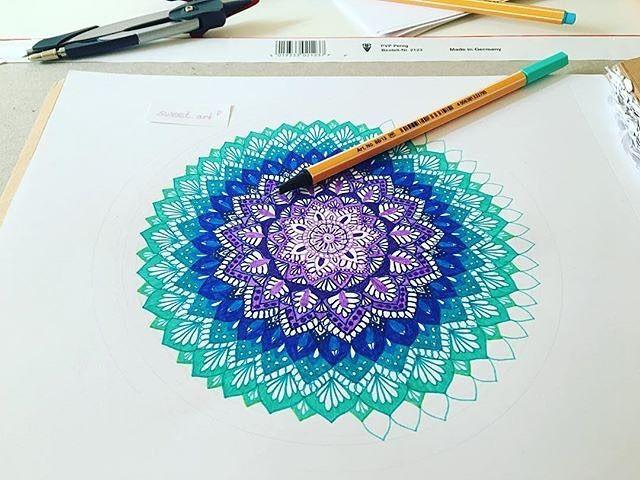 Mandala Under Construction Sweet Artc Stabilo Stabiloart Point88 Mandala Design Art Mandala Art Mandala Drawing