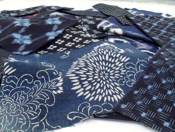 Patchwork ..Japanese Vintage  Indigo dyed remnant by klektik