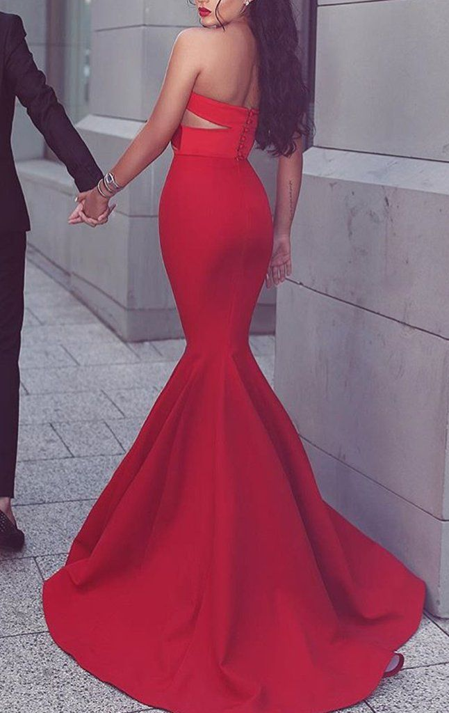 66bf907dfe9e MACloth Mermaid Strapless Satin Long Prom Dress Red Formal Gown Cut out