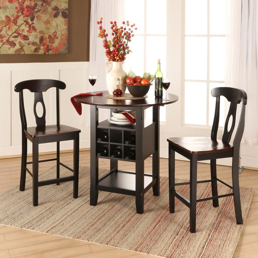 Kamerfield 3Piece Black Bar Table Set  Cherries Bar Tables And Amusing 3 Piece Kitchen Table Set Design Ideas