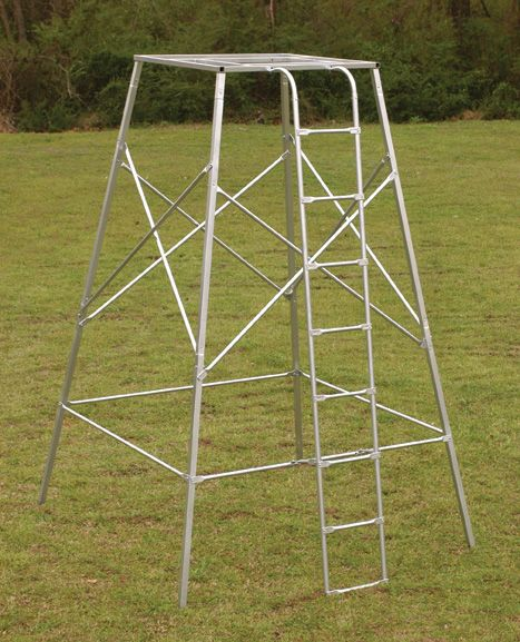 Steel quadpod platform huntng pinterest platform for Deer hunting platforms