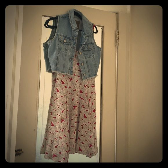 Vintage jean vest Cute vest with cut out at bottom perfect with a sundress. Abercrombie & Fitch Tops