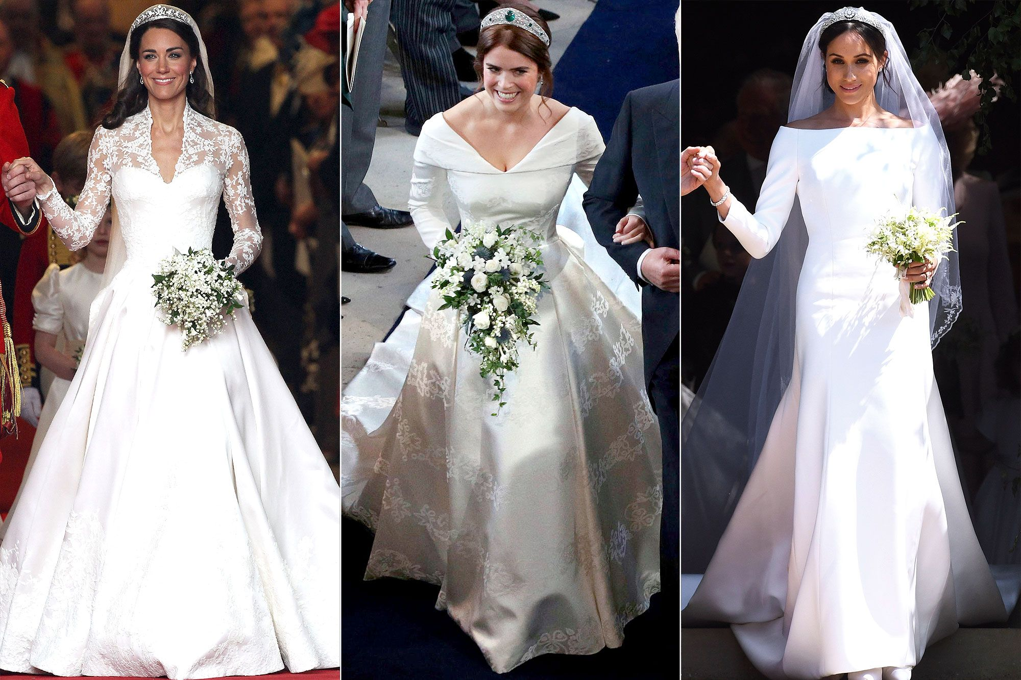 Royal Brides How Princess Eugenie S Wedding Dress Compares To Kate Middleton S And Meghan Markle S Gowns Princess Kate Wedding Dress Wedding Gowns Mermaid Royal Wedding Gowns [ 1333 x 2000 Pixel ]