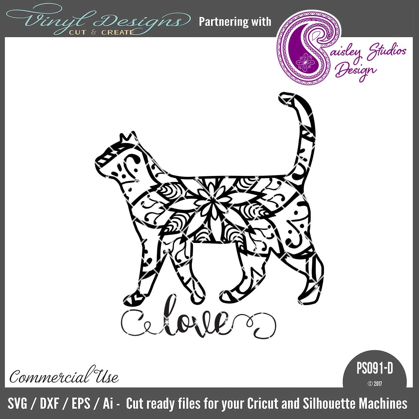 PS091D Cat Mandala Sold By Paisley Studios DesignSmall Business Commercial UseAvailable In SVG DXF