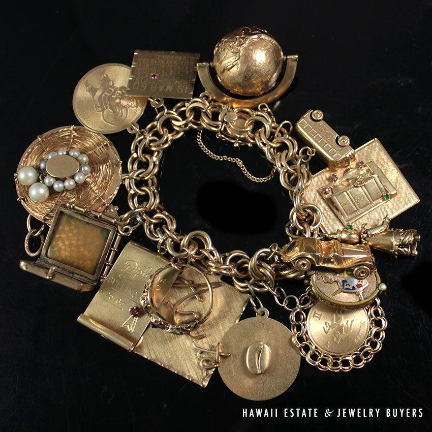 Vintage 14k Gold Charm Bracelet: Details About Vintage Estate 14K Yellow Gold Charm