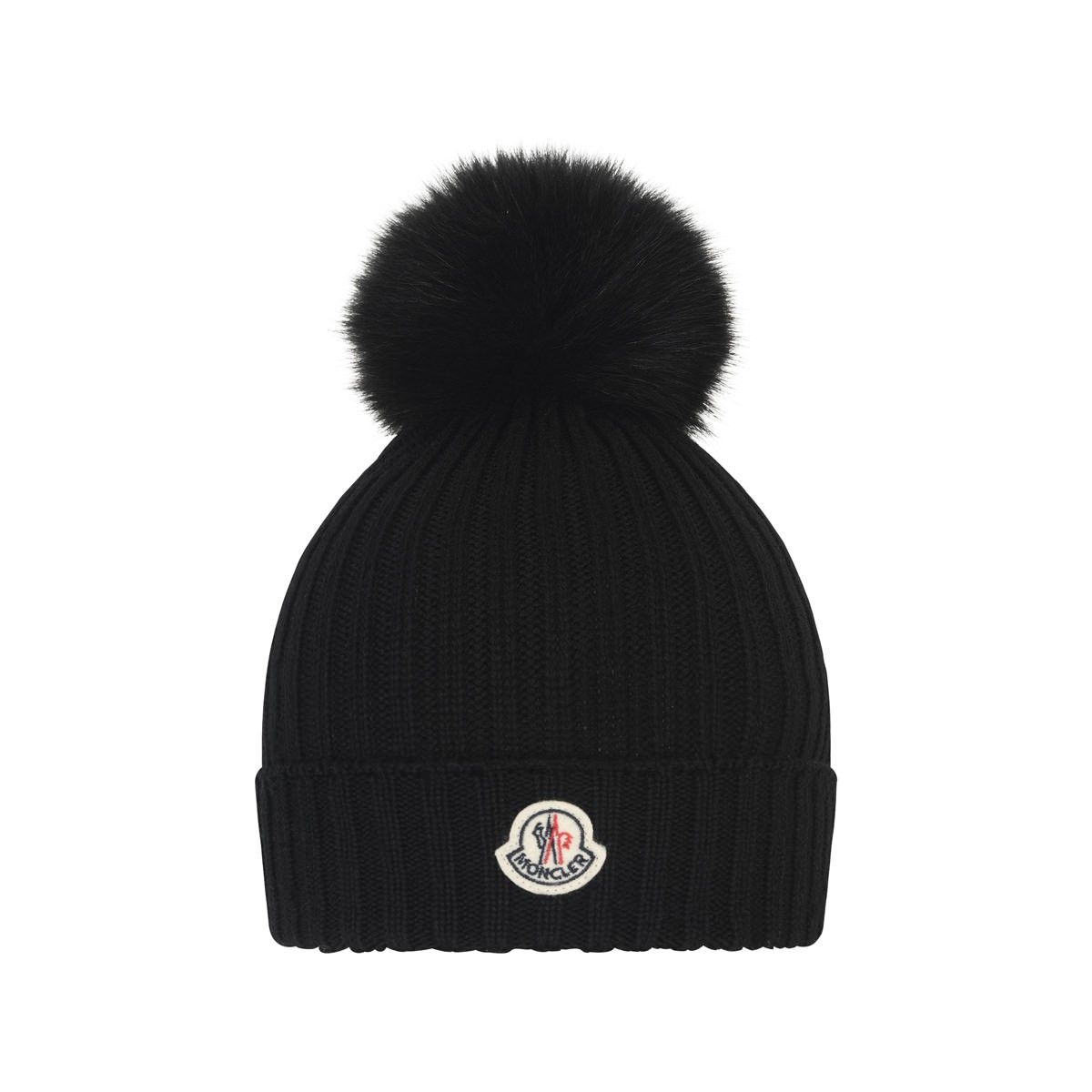 8a0c4980fa9cd Moncler Black Wool Knitted Hat With Fur Pom Pom