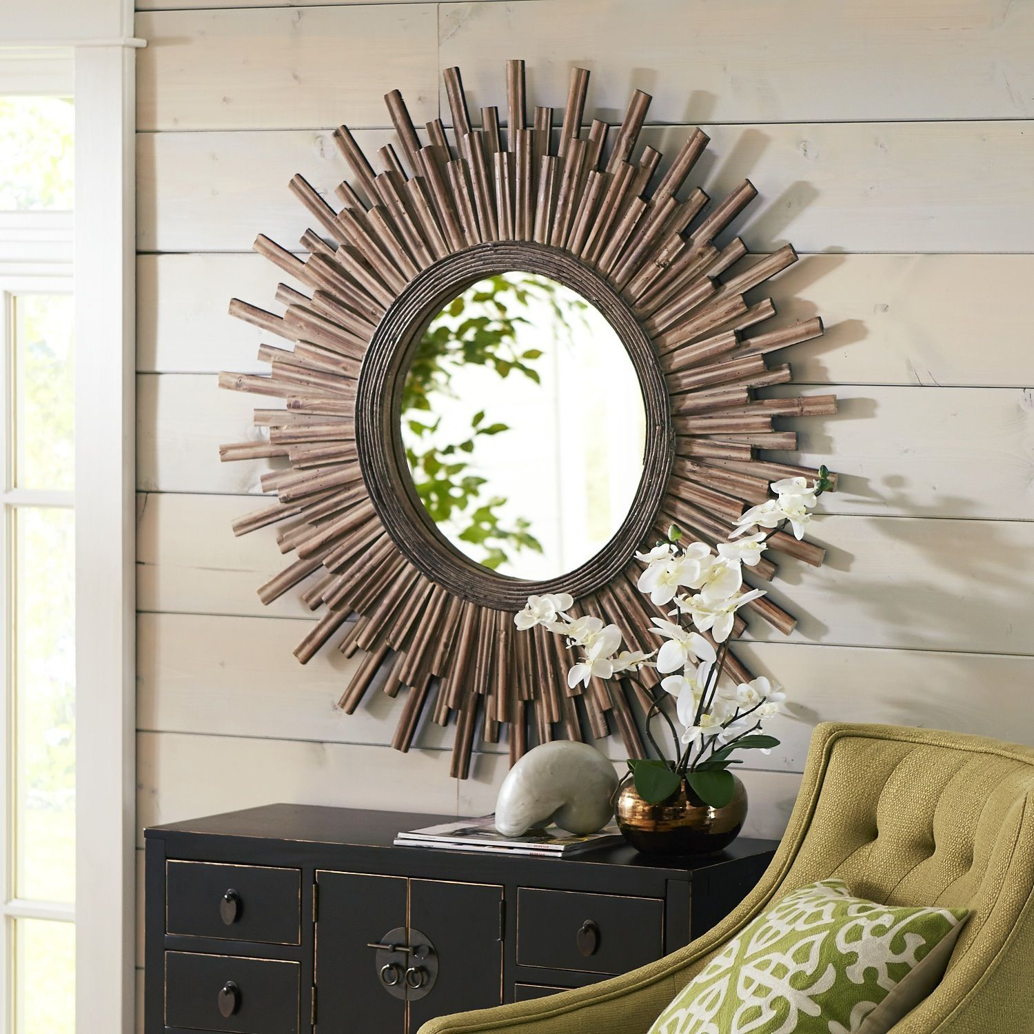 Wood Sunburst Mirror   Pier 1 Imports  This mirror would look stunning in  your home. Canyon 42  Round Mirror   Entry ways  Dining rooms and The o jays
