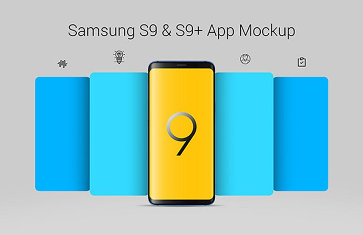 Free Samsung Galaxy S9  S9+ App Template PSD Fonts Misc - Free App Template